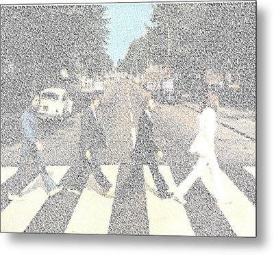 Abbey Road Beatles Songs Mosaic Metal Print by Paul Van Scott