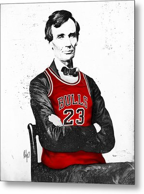 Abe Lincoln In A Michael Jordan Chicago Bulls Jersey Metal Print