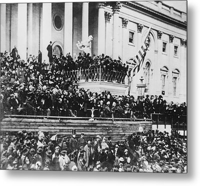 Abraham Lincoln Gives His Second Inaugural Address - March 4 1865 Metal Print by International  Images