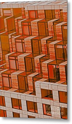 Abstract Architecture In Red Metal Print by Mark Hendrickson