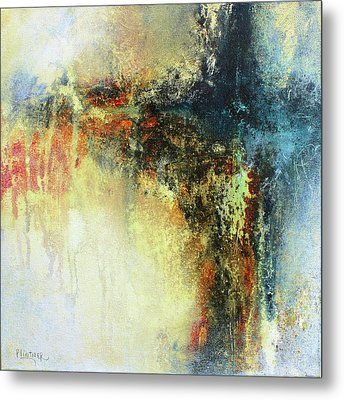 Teals And Warm Tones Abstract Painting Metal Print by Patricia Lintner