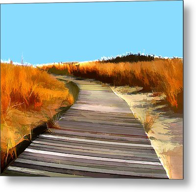 Abstract Beach Dune Boardwalk Metal Print by Elaine Plesser