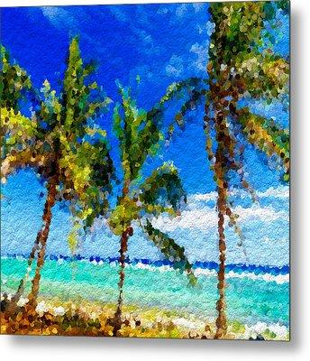 Abstract Beach Palmettos Metal Print