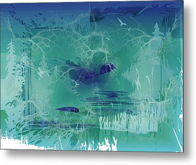Metal Print featuring the digital art Abstract Blue Green by Robert G Kernodle
