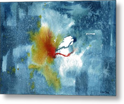 Abstract Blue Red Connect Metal Print by Sean Seal