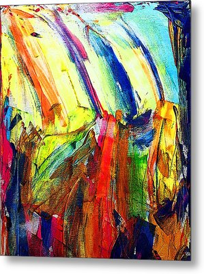Metal Print featuring the painting Abstract Colored Rain by Jennifer Godshalk