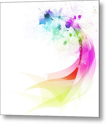 Abstract Colorful Curved Metal Print