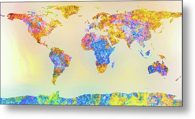 Abstract Earth Map 2 Metal Print by Bob Orsillo