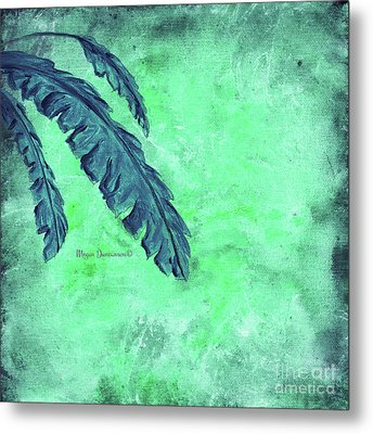 Abstract Floral Fauna Banana Leaf Tropical Aqua Splash Abstract Art By Megan Duncanson  Metal Print