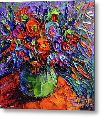 Abstract Floral On Orange Table - Impasto Palette Knife Oil Painting Metal Print by Mona Edulesco