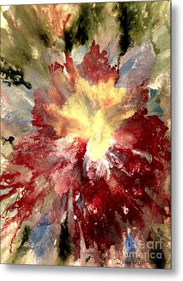 Metal Print featuring the painting Abstract Flower by Denise Tomasura
