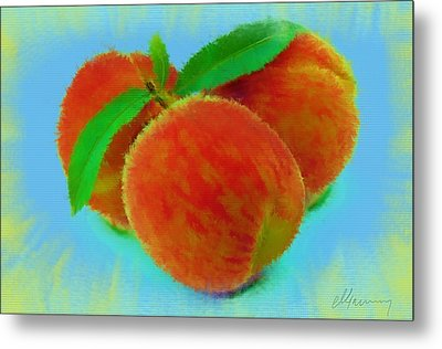 Abstract Fruit Painting Metal Print by Michael Greenaway