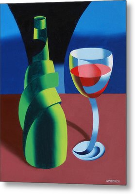 Abstract Geometric Wine Glass And Bottle Metal Print