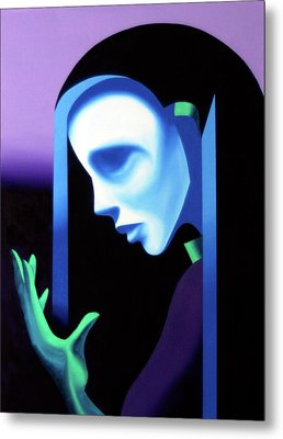 Abstract Ghost Mask Metal Print