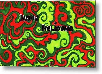 Abstract Happy Holidays Metal Print by Mandy Shupp
