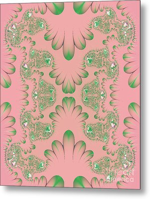 Metal Print featuring the digital art Abstract In Pink And Green by Linda Phelps