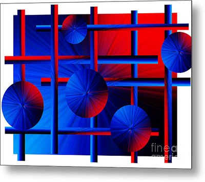 Abstract In Red/blue Metal Print by Trena Mara
