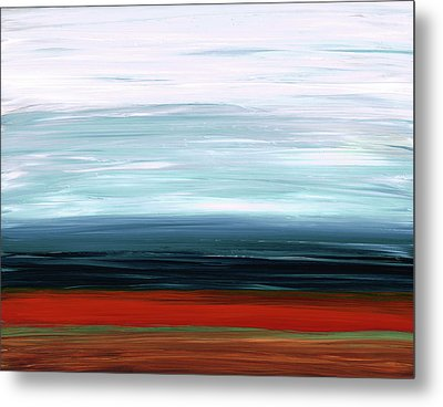 Abstract Landscape - Ruby Lake - Sharon Cummings Metal Print by Sharon Cummings