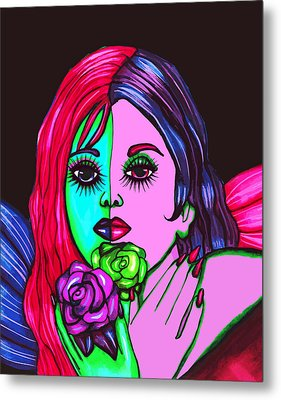 Abstract Neon Rose Fairy Metal Print