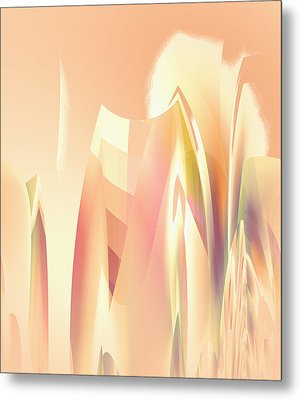 Metal Print featuring the digital art Abstract Orange Yellow by Robert G Kernodle