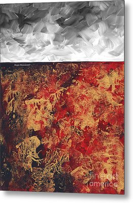 Abstract Original Painting Contemporary Metallic Gold And Red With Gray Madart Metal Print by Megan Duncanson
