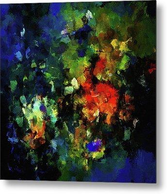 Abstract Painting In Dark Blue Tones Metal Print by Ayse Deniz