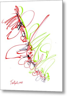 Abstract Pen Drawing Seventy Metal Print by Lynne Taetzsch