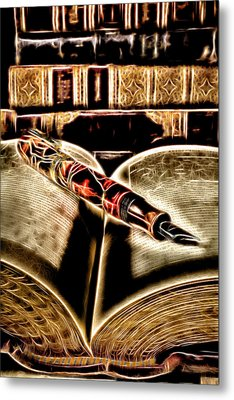 Abstract Pen On Book Metal Print by Garry Gay