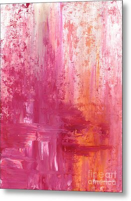 Abstract Pink And Orange Original Painting And Prints The Fire Within By Megan Duncanson Metal Print