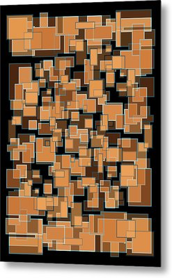 Metal Print featuring the mixed media Abstract Rectangles Nightfall Color Scheme by Frank Tschakert