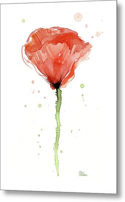 Abstract Red Poppy Watercolor Metal Print by Olga Shvartsur