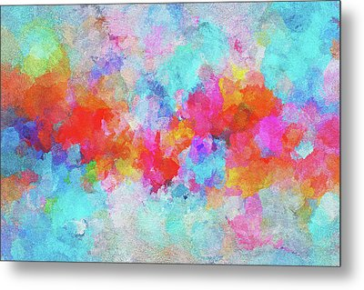 Metal Print featuring the painting Abstract Sunset Painting With Colorful Clouds Over The Ocean by Ayse Deniz