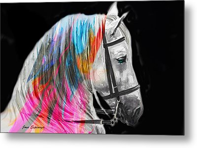 Metal Print featuring the painting Abstract White Horse 54 by J- J- Espinoza