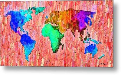 Abstract World Map 11 - Da Metal Print