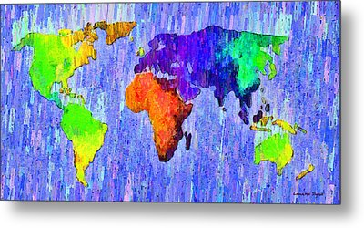 Abstract World Map 13 - Pa Metal Print