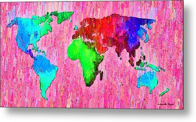 Abstract World Map 14 - Da Metal Print