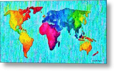 Abstract World Map 17 - Da Metal Print