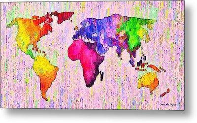 Abstract World Map 18 - Pa Metal Print by Leonardo Digenio