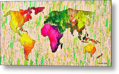 Abstract World Map 19 - Pa Metal Print by Leonardo Digenio