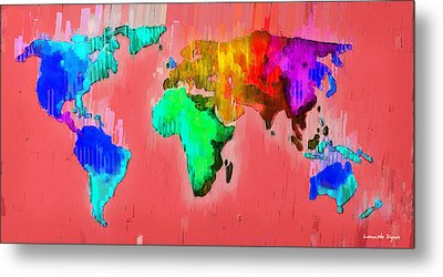 Abstract World Map 2 - Pa Metal Print by Leonardo Digenio