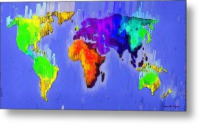 Abstract World Map 3 - Pa Metal Print by Leonardo Digenio