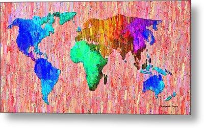 Abstract World Map Colorful 51 - Da Metal Print