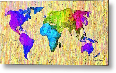Abstract World Map Colorful 52 - Da Metal Print