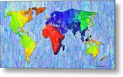 Abstract World Map Colorful 53 - Pa Metal Print