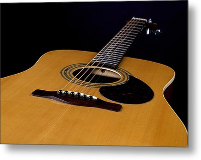 Acoustic Guitar  Black Metal Print by M K  Miller