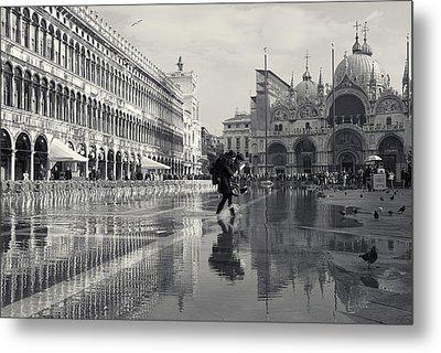 Acqua Alta, Piazza San Marco, Venice, Italy Metal Print by Richard Goodrich
