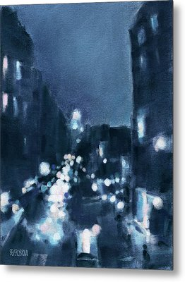Across 23rd Street Nyc High Line At Night Metal Print