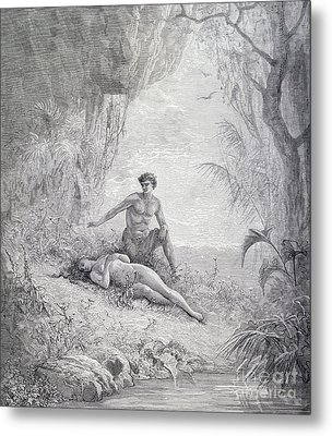 Adam And Eve Metal Print by Gustave Dore