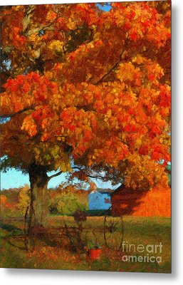 Metal Print featuring the painting Adirondack Autumn Color Brush by Diane E Berry