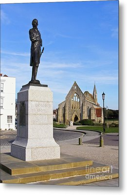 Admiral Lord Nelson And Royal Garrison Church Metal Print by Terri Waters